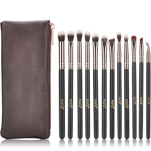 MSQ Eyeshadow Brushes 12pcs Rose Gold Eye Make Up Brush Set with Bag (PU Leather Pouch) Soft Natural Hairs for Eyeshadow, Eyebrow, Eyeliner, Blending - Rose Gold