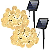 Cymas Solar String Lights, 30LED Crystal Balls Decorative Lighting For Outdoor, Patio, Lawn, Fairy Garden, Wedding, Holiday, Parties (IP 65 Waterproof & 8 Working Modes) (2 Pack)