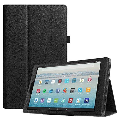 Fintie Hülle Fire HD 10 Tablet (7. Generation - 2017) - Folio Kunstleder Schutzhülle Cover mit Ständerfunktion für All-New Amazon Fire HD 10,1 Zoll Tablette, Schwarz
