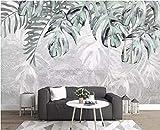 BHXINGMU Mural Papel Tapiz 3D Hojas De Plantas Modernas Nórdicas Sala De Estar Grande Tv Sofá Decoración De Fondo 320Cm(H)×450Cm(W)