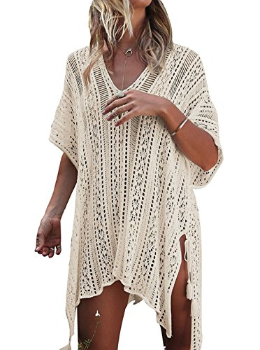 Tuopuda Damen Bikini Cover Up Strandkleid Sommer Bademode Stricken Beach Kleider (beige)