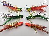 Fliegen Angeln Jazzy Poppers Auswahl, Set von 6Fliegen Gr. 4Für Bass Hecht Forelle Barsch...