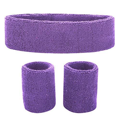 Fussox Schweißband Set Stirnband Sport Handgelenk und Kopf Schweissband Baumwolle Schweißbänder (Lila)
