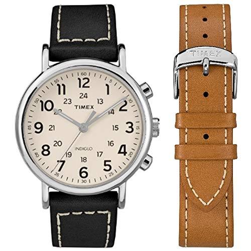 Timex Herren Analog Klassisch Quarz Uhr mit Leder Armband TWG019300 (Timex Armband Leder)