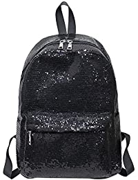 BESTVECH Shining Sequins Women Backpacks Large Size Travel Shoulder Bag/Black