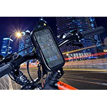 """Soporte móvil moto con funda impermeable para teléfonos hasta 5.5"""" y dispositivo seguridad anti-caídas, soporte móvil bicicleta motocicleta, soporte teléfono bicicleta universal para todo tipo de manillares y teléfonos móviles como Iphone 7 SE 6S 6S plus 6 6 plus 5 5S 5C 4 4S , Samsung Galaxy S7 / S6 / S5 / S4 / Note 4/3 , Sony, BQ, Motorola, Google Nexus, LG G3 y demás teléfonos. Negro"""