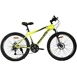 "Hercules Roadeo A75 26"" Hard Tail Dual Disc Brake Stylish Sporty Neon Yellow Alloy Bike/Bicycle for Boys"