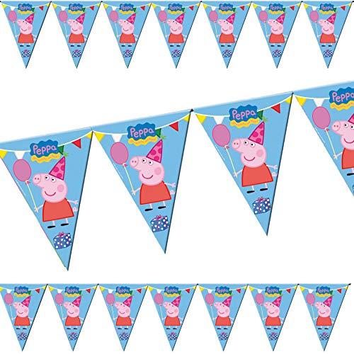 3m Wimpelkette * Peppa Pig * als Deko für Kindergeburtstag und Motto-Party | beidseitig farbig Bedruckt | Kinder Geburtstag Mottoparty