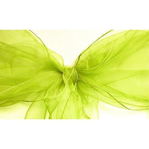 Preisvergleich Produktbild 1, 50, 100, 120und 150x 17cm breit 280cm lang–Organza Schärpen Stuhlhusse Bögen Volleres für Hochzeit Geburtstag Party Events 34Farben von Hochzeit Decor, Textil, grün, Twin