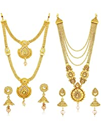 Sukkhi Traditional Pearl Gold Plated Wedding Jewellery Long Haram Necklace Set Combo For Women (CBN83437)