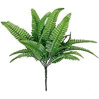 1 x Artificial Fern Grass Plastic Plant Home Table Arrangement Decor Green (2pcs, Green)