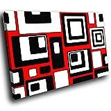 AB490C gerahmte Leinwanddruck Bunte Wand-Kunst - Rot Schwarz Weiß Cool - modernes abstraktes Wohnzimmer Schlafzimmer Bild Stück Wohnkultur Interior Design Einfach Hang Guide (60x40cm)