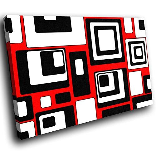 (AB490C gerahmte Leinwanddruck Bunte Wand-Kunst - Rot Schwarz Weiß Cool - modernes abstraktes Wohnzimmer Schlafzimmer Bild Stück Wohnkultur Interior Design Einfach Hang Guide (60x40cm))