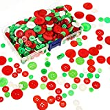 Bememo 400 Stücke Knöpfe Runder Harz Knopf Nähen Kunst Knöpfe mit Aufbewahrungsbox für Valentinstag, 2 und 4 Löcher, Verschiedene Größen (Rot, Grün und Weiß)