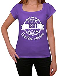 Made in 1981 Limited Edition Femme T-shirt Violet Cadeau D'anniversaire