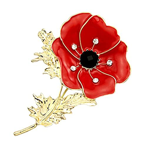Lest We Forget Peace Poppy 18Ct Gold Plated Stud Earrings Set With Swarovski Crystal LKwGHlZ