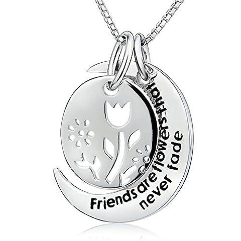 ELBONTEK 925 Sterling Silver 2 piece Hollow Flower Friendship Message