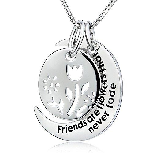 ELBONTEK 925plata de ley 2piezas Hollow flor amistad mensaje grabado encanto colgante collar, 18