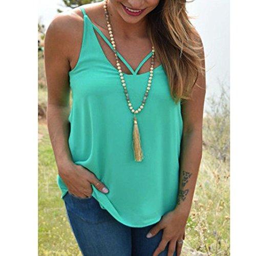 Femmes Blouse en mousseline, Transer ® Femmes sexy en mousseline de soie écharpe tour de cou T-shirt sans manches gilet Vert