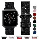 Fullmosa Apple Watch Bracelet de Montre en Cuir Véritable 42mm & 38mm, iwatch Band/Bracelet Homme & Femme pour Apple Watch Series 3/2/1,Nike+ Hermes & Edition,38mm Noir-Gm-Gm