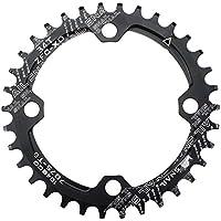 Plato para cadena única de bicicleta Fomtor de 32, 34 o 36 dientes, con BCD 104 y compatibilidad con velocidades 9, 10 y 11, de piñón fijo (redonda, negro), color 34T, tamaño 34t