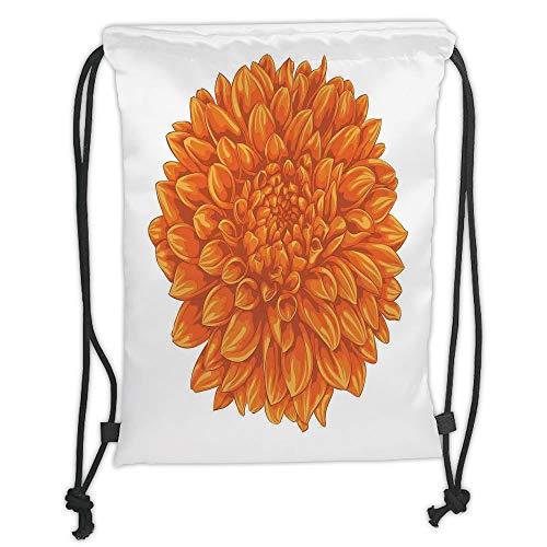 LULUZXOA Gym Bag Printed Drawstring Sack Backpacks Bags,Dahlia Flower Decor,Funk Art Old Vintage Floral Leaf Love Valentines Mother Days Home Decor,Orange Soft Satin,T (Home Valentine Decor)