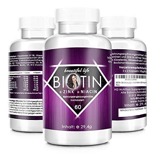 BIOTIN - Die Lösung gegen Haarausfall - Starke Formel - Hochdosiert - Haar-Vitamine - Biotin, Zink, Selen, Hirse & Mehr - hergestellt in Deutschland - 60 Premium Kapseln