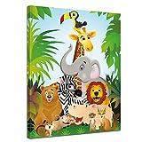 Bilderdepot24 Kunstdruck - Kinderbild Dschungeltiere Cartoon II - Bild auf Leinwand - 40x50 cm - Leinwandbilder - Bilder als Leinwanddruck - Wandbild