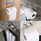 3M Self Adhesive Toilet Roll Paper Holder, Yegu Brushed Stainless Steel Towel Tissue Hanger Wall Mounted Waterproof Dispenser for Bathroom Kitchen Lavatory Contemporary Style Square Base