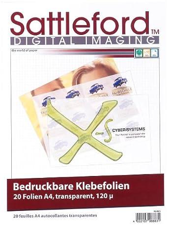 Sattleford Bedruckbare Klebefolien: 20 Klebefolien A4 transparent für Inkjet (Vinyl Klebefolien)