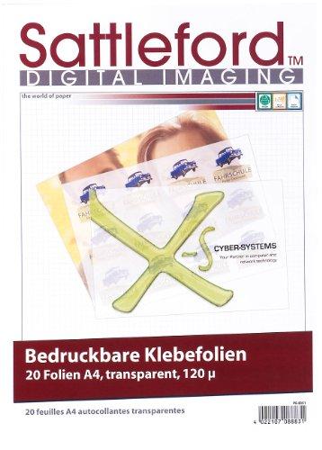 Sattleford Klebefolie zum bedrucken: 20 Klebefolien A4 transparent für Inkjet (Etiketten transparent Inkjet)