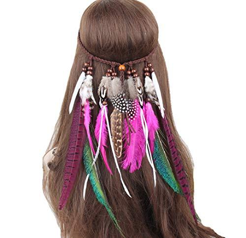 dressfan Diadema India Hippie Banda para el cabello Bohemia Pluma Gyps