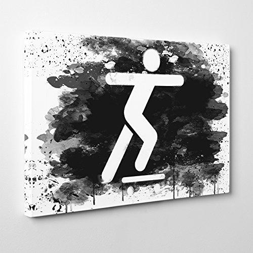Arty Pie Canvas Print 24 x 16 Inch (60 x 40 cm) Skateboard Sign (2) V3, Wood, Multi-Colour, 24 x 16-Inch
