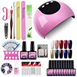Saint-Acior UV Nagellack nagelset gel nägel Farben Nail Gel Polish Set 24w UV LED Lampe starterset uv gel Lacken Set