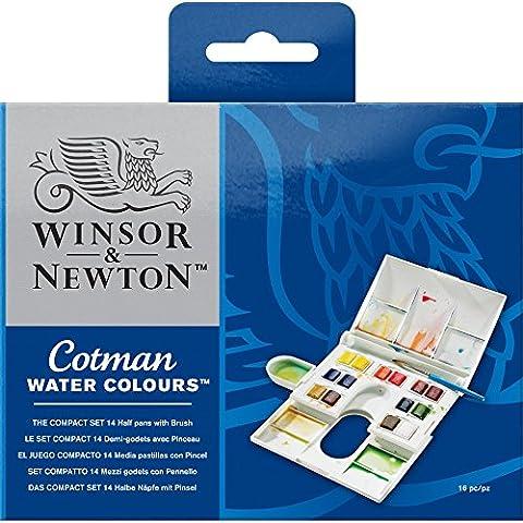 Winsor & Newton - Set di acquerelli, 14 colori, con pennello Cotman serie III