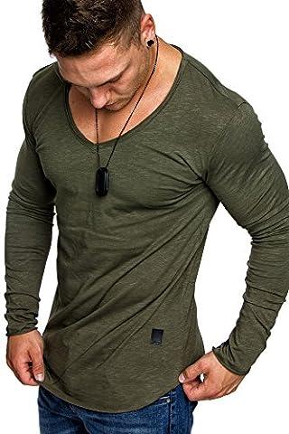 Amaci&Sons Oversize Herren Longsleeve Vintage Sweatshirt V-Neck Basic V-Ausschnitt Shirt 6060 Khaki XXL