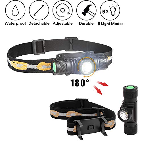 PSATO USB-Ladescheinwerfer, IPX6 LED Scheinwerfer Mit 6 Anzeigemodi 1000 Lumen Beleuchtung 6500K Farbtemperatur Ideal Für Outdoor-Camping Und Wanderausrüstung -