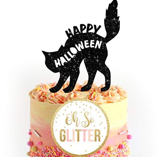 -Kuchendeckel der schwarzen Katze des Halloween-Kuchendeckels personalisierte Kuchendeckel-Kuchendekoration Katzenk?tzchen-Halloween-Dekoration ()