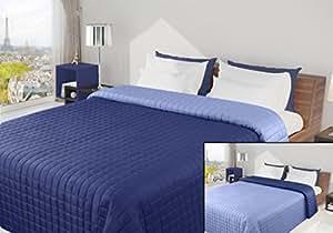 220x240 dunkelblau kornblumenblau blau hellblau Tagesdecke Bettüberwurf Steppbettüberwurf Steppung zweiseitig Eva