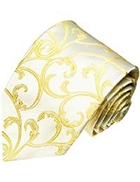 LORENZO CANA - Cravate de mariage Extra Longues en 100% Soie - Ivoire Or Beige clair couleurs - 8446199