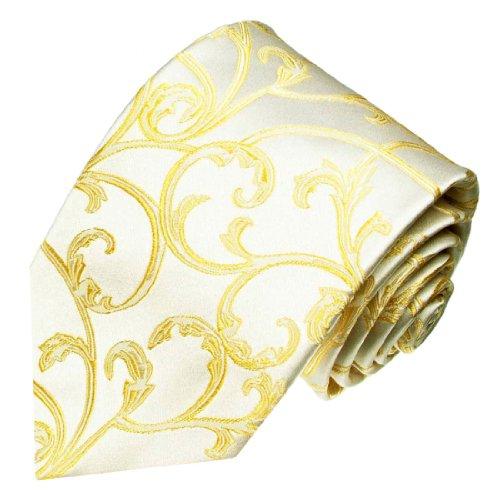 LORENZO CANA - Champagner Ivory Krawatte aus 100% Seide mit goldenen Ranken - Hochzeit Fest Trauung Vermählung - 84461
