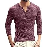Fenverk Sweatshirt Herren Solid V Neck Langarm T-Shirt Top Slim Bluse Langarmshirt Rundhals Classics Herren T-Shirt(B Wein,XXXL)