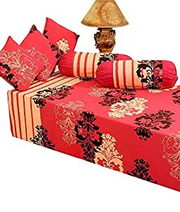 Heritagefabs DSDS3RN02 diwan set ( single bed sheet with 3 cushion covers and 2 bolster covers)