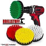 Drillstuff 4 Stück Soft, Medium und steif Leistungsschrubber Bohraufsatz für die Reinigung Duschen, Wannen, Bäder, Fliesen, Mörtel, Teppich, Reifen und Boote weiß, grün, gelb, rot