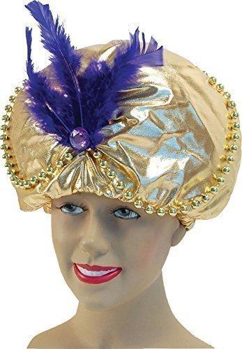 he Prinz Gold Gepolstert Weihnachtsfeier Hut Perlen + Juwelen (Lila Genie Kostüme)