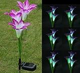 FRE Solarleuchten 3 Kopf Lilien Blumen LED Licht Lampen Garten Rasen Decor - lila