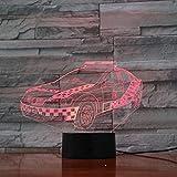 Voiture De Police 3D Night Light 7 Gradient De Couleur Visual Light Led Light Cabinet Creative Light Décoration De Table Lampe Touch Switch...