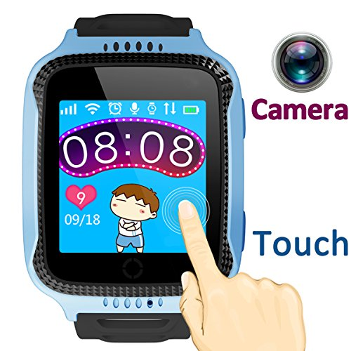 TURNMEON 1.44 inch Touch Kids GPS Tracker Smart Watch with Camera SIM Calls Anti-lost SOS Wrist Watch Smart Bracelet for Children Girls Boys Finder Safety Monitor Flashlight (Mix Blue)