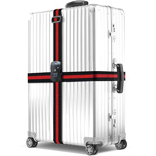 Koffergurt, BEZ® TSA Gepäckgurt Kofferband Koffer Rutschfest Kreuz Gepäck Strap mit Zahlenschloss (Fashion-gepäck-kollektion)