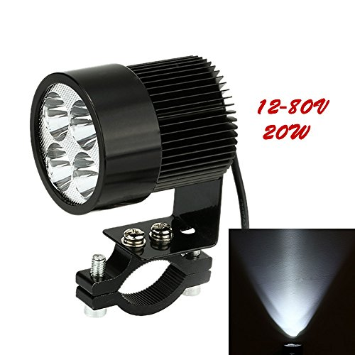 KKMOON 12V-80V 20W Schwarz LED Scheinwerfer Lampe Universal für Motorrad E-bike